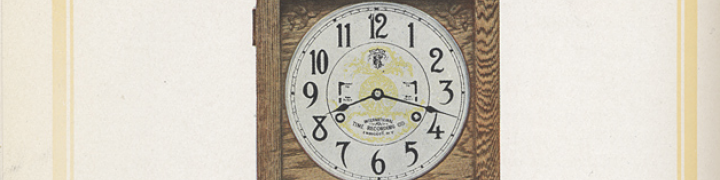 Portion of an image of a large standing time clock. This engraving is cropped to show just the face of the clock.