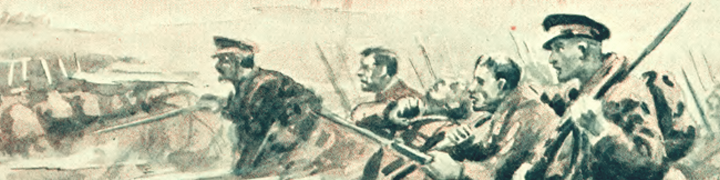 Illustration of soldiers rushing into battle
