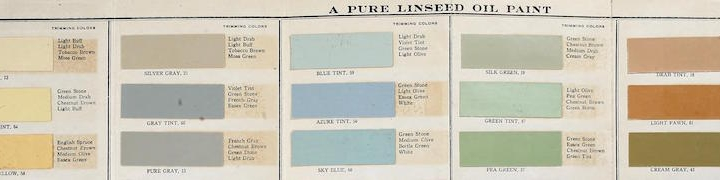 """A banner-shaped image of paint samples from a Benjamin Moore catatalog. The colors are light pastels: yellow, pink, blue, green and orange. The text on the left reads """"House Colors, A Pure Linseed Oil Paint"""""""