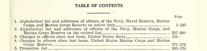 part of the table of contents for Navy directory : officers of the United States Navy and Marine Corps etc.,1941