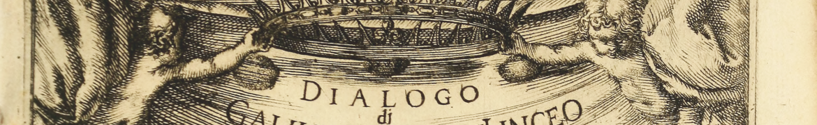 """illustration of two cherubs holding a crown over the title of the book """"Dialogo di Galileo Galilei"""""""