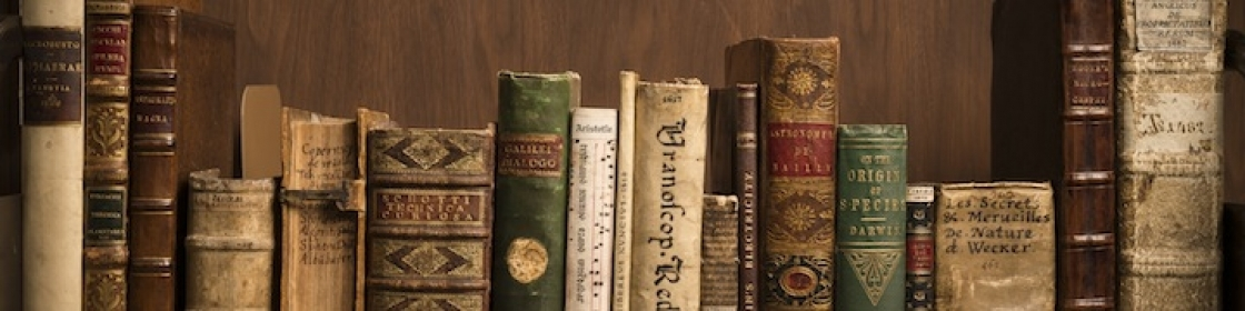 A close up of a dozen old books of different sizes and shapes set on a shelf to show their spines and titles.