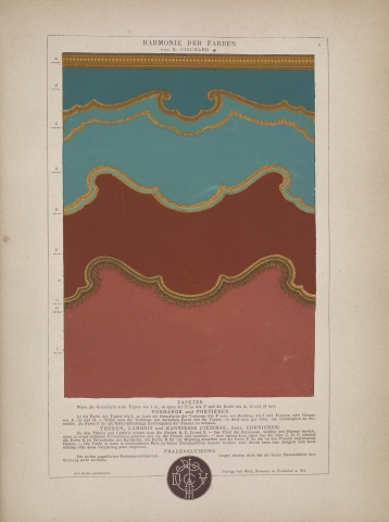 A page from a book illustrating four overlapping colors. The borders between the colors are ornate shape, like the backs of a victorian chair cushion.