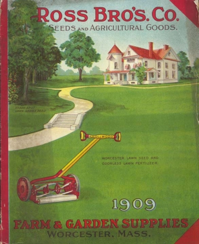 Trade catalog from 1909 featuring lawn seed and fertilizer