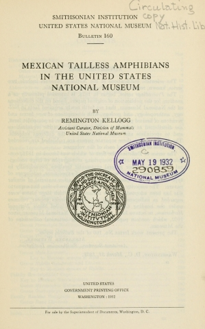Title page of Mexican tailless amphibians in the USNM