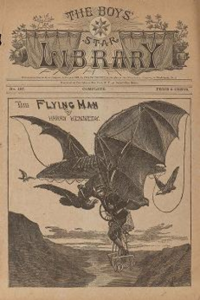 """Cover of """"The flying man, or, The adventures of a young inventor"""""""