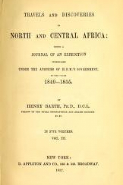 """Cover of """"Travels and discoveries in North and Central Africa"""""""