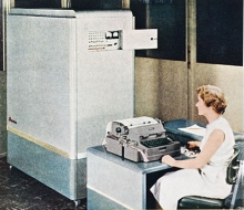Woman at computer from National Cash Register Company 1953