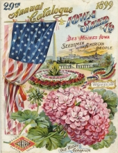 "Image of a seed catalog cover containing images of the American flag, ""Old Glory"" geraniums, the White House and the Washington Monument."