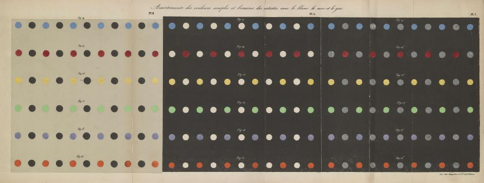 A fold out page from a book depicts columns and rows of colored dots with a third of them displayed on a white background, and two thirds displayed on a black background/