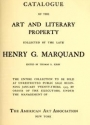 """Cover of """"Catalogue of the art and literary property"""""""