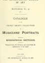 """Cover of """"Catalogue of the Crosby Brown collection of musicians' portraits"""""""