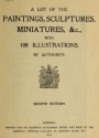 """Cover of """"A list of the paintings, sculptures, miniatures, &c., with 108 illustrations"""""""