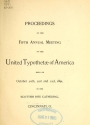"Cover of ""Proceedings of the fifth annual meeting of the United Typothetae of America"""