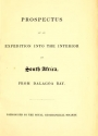 "Cover of ""Prospectus of an expedition to the interior of South Africa, from Dalagoa Bay : patronized by the Royal Geographical Society."""