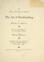 """Cover of """"A short historical sketch of the art of bookbinding"""""""