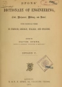 """Cover of """"Spons' dictionary of engineering, civil, mechanical, military, and naval; with technical terms in French, German, Italian, and Spanish"""""""