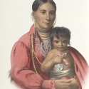 """Image of a native american mother and child, from """"History of the Indian tribes of North America, Volumes 1-3 , 1836-1844"""""""