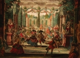 tiny colorful cut out figures in 17th century European clothing dance in a three dimensional garden