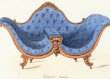 illustration of a blue tufted Rococo revival love seat