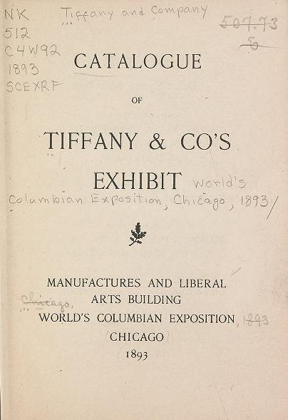 Catalogue of Tiffany & Co's exhibit