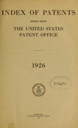 Index of patents issued from the United States Patent Office 1926