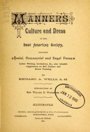 Manners Culture And Dress Of The Best American Society Including - American legal forms