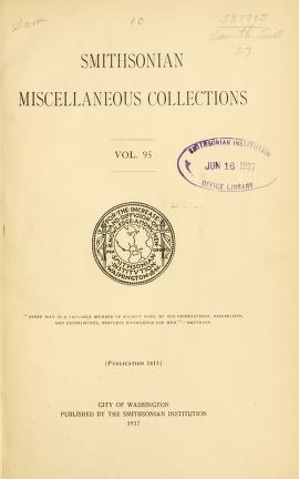 Smithsonian miscellaneous collections v. 95 1937