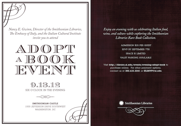 Black and white invitation flyer for An Evening to Adopt-a-Book event