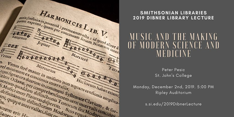 2019 Dibner Lecture graphic with photo of book page
