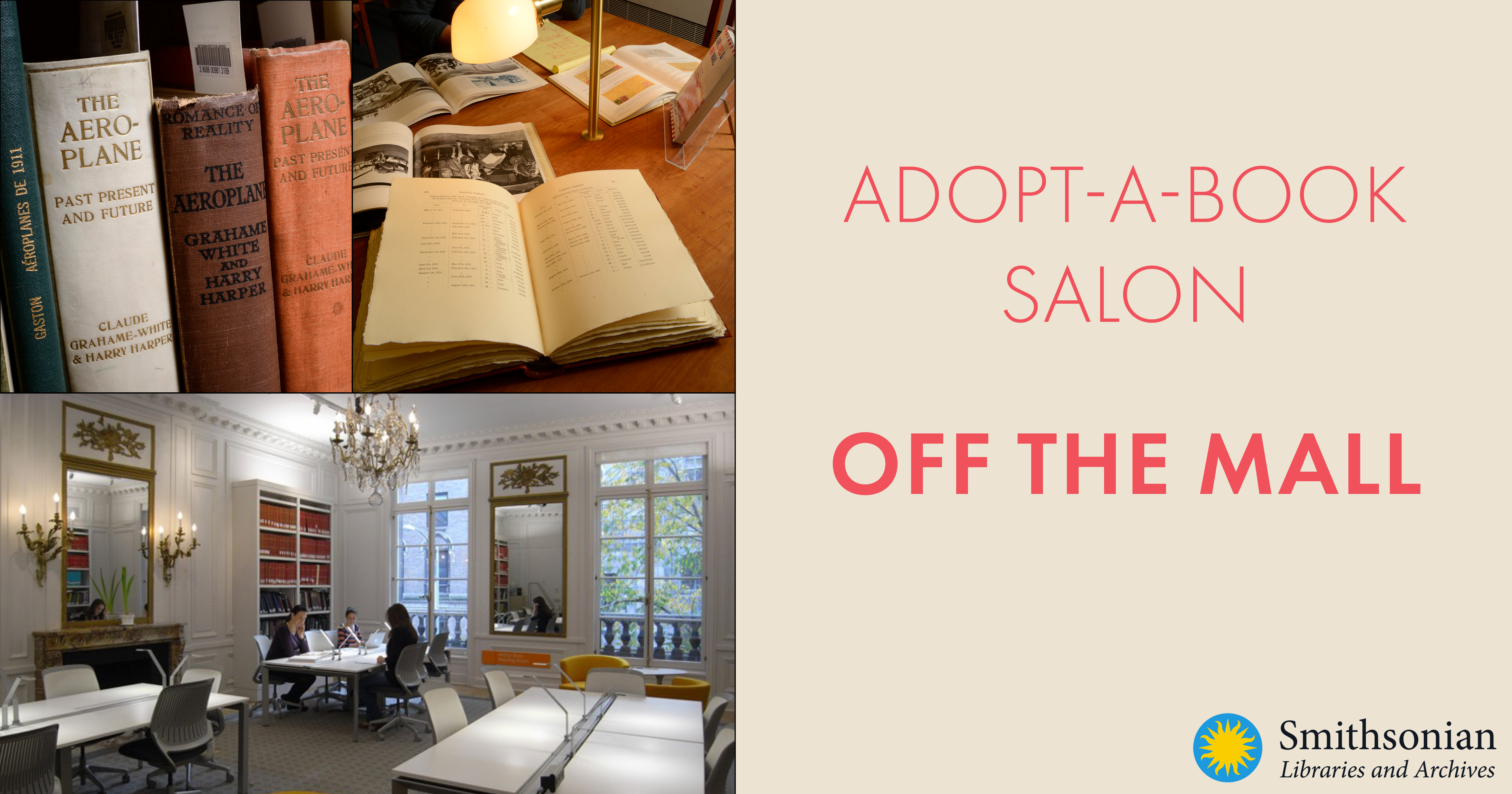 Adopt-a-Book Salon: Off the Mall with images of libraries and books on shelves