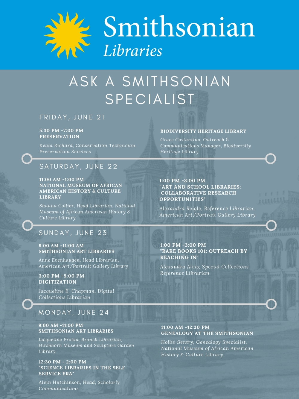 full color schedule of Ask a Smithsonian Specialist speakers