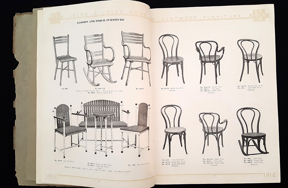 Chairs available in the Jacob & Josef Kohn of Vienna : catalogue, 1911-1912.