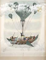 Hull of a wooden ship being carried by one large balloon and many smaller balloons filled with people on the deck and dressed in 19th formal clothing.