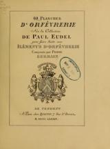 Cover of 60 planches d'orfèvrerie de la collection de Paul Eudel pour faire suite aux éléments d'orfèvrerie composés par Pierre Germain