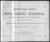 Cover of Architectural designs for model country residences