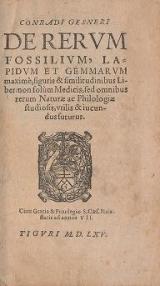 Cover of Conradi Gesneri De rerum fossilium, lapidum et gemmarum maximè, figuris & similitudinibus liber  non solùm medicis, sed omnibus rerum naturae ac phi