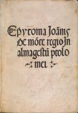 Cover of Epytoma Ioannis de Monte Regio in Almagestum Ptolomei
