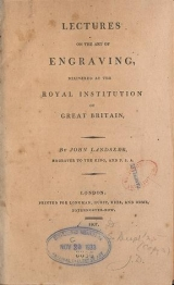 Cover of Lectures on the art of engraving