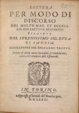 Cover of Lettera per modo di discorso