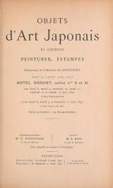 Cover of Objets d'art Japonais et Chinois peintures, estampes - composant la collection des Goncourt.