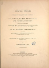 Cover of Original designs of the most celebrated masters of the Bolognese, Roman, Florentine, and Venetian schools