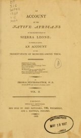 Cover of An account of the native Africans in the neighbourhood of Sierra Leone