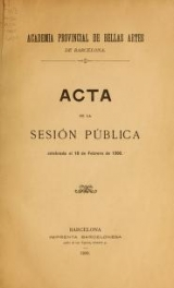 Cover of Acta de la sesión pública celebrada el 18 de febrero de 1900