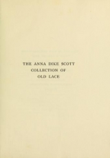 Cover of Anna Dike Scott collection of old lace