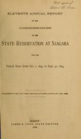 """Cover of """"Annual report of the Commissioners of the State Reservation at Niagara"""""""