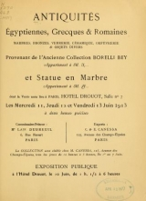 Cover of Antiquités égyptiennes, grecques & romaines