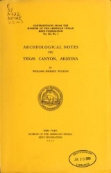 Cover of Archeological notes on Texas Canyon, Arizona