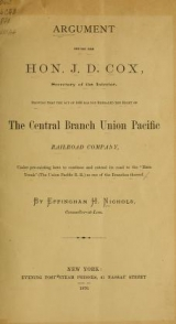 """Cover of """"Arguement before the Hon. J.D. Cox, Secretary of the Interior"""""""