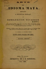 Cover of Arte del idioma maya reducido a sucintas reglas